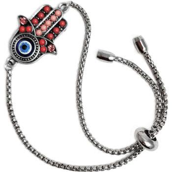 Bratara Mana Fatimei si ochiul lui Horus, talisman impotriva energiilor negative, rosie