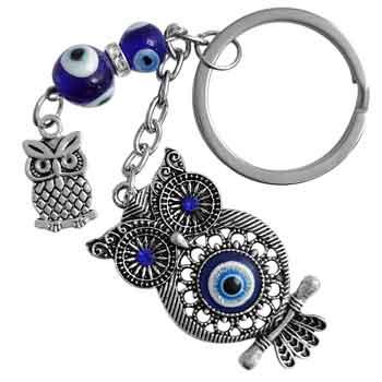 Breloc Bufnita si Ochiul norocos, talisman pentru intelepciune si protectie