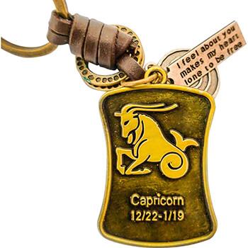 Capricorn, breloc retro cu snur piele si 4 accesorii din cercuri metal, tablita cu mesaj