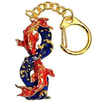 Breloc cifra 8 de prosperitate, amuleta cu apa si crapi rosii pentru relatii minunate si abundenta