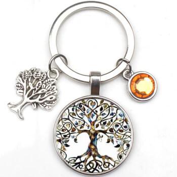 Breloc Copacul Vietii, amuleta feng shui pentru dezvoltare personala si echilibru, metal, argintiu