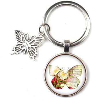 Breloc chei cu pandantiv fluture,  aceesoriu geanta, simbol pentru dragoste, metal argintiu