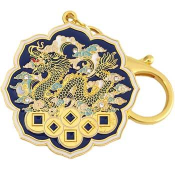 Breloc Dragonul Celest pe pat de monezi, amuleta 2021 pentru noroc si prosperitate, metal multicolor