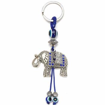 Breloc chei cu Ochiul lui Horus si elefant, amuleta de protectie impotriva deochiului si a dragoste, 14 cm