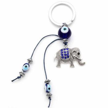 Breloc Nazar cu elefant, amuleta feng shui protectie impotriva energiilor negative si prosperitate, 12.5 cm