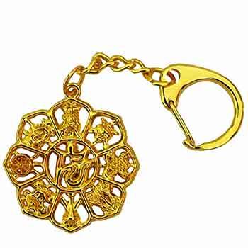 Amuleta norocoasa breloc 8 simboluri de dragoste si bani, talisman pentru bunastare, auriu