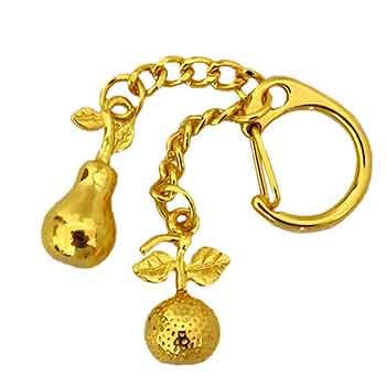 Breloc mandarina si para, amuleta feng shui pentru bani si prosperitate, metal