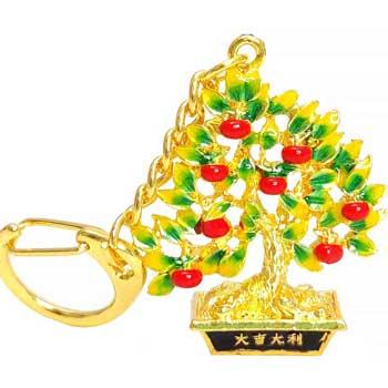 Amuleta dorintelor breloc copacul prosperitatii cu pepita si mantre norocoase, metal, multicolor