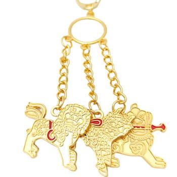 Amuleta protectie invidii breloc trei gardieni celesti, metal de calitate auriu