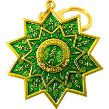 Stea cu silaba TAM, breloc din metal si zirconiu, amuleta pentru indeplinirea dorintelor, verde
