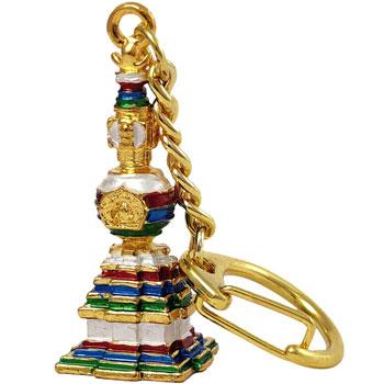 Stupa Feng Shui cu Buddha al Medicinei, breloc amuleta de protectie boli si vindecare, auriu, 4.2 cm