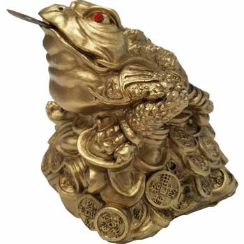 Broasca Chan Chu, broaste raioase Feng Shui cu pietre rosii si moneda cu ideograme. talisman pentru bani, dragoste si bunastare, 140 mm