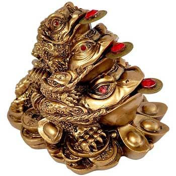 3 broaste triplu noroc de bani, pe pepite si monede chinezesti, aurie, 7.5 cm