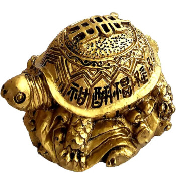 Broasca testoasa feng shui, amuleta norocoasa pentru stabilitate si longevitate cu ideograme, aurie, 50 mm