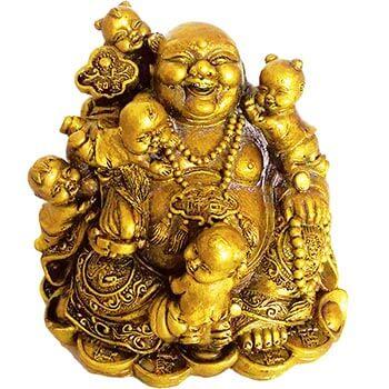 Buddha vesel auriu pentru noroc de fertilitate, indeplineste dorinta de a concepe multi copii