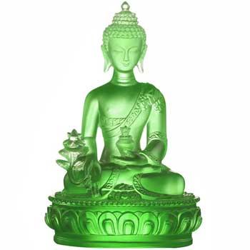Set statueta Buddha medicinei verde, simbol de sanatate si prosperitate, cristal glazurat Liuli k9, 130 mm