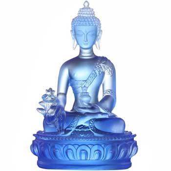 Set Buddha medicinei Albastru, statueta covoras perie, simbol de sanatate si fericire, cristal tibetan Liuli k9, 130 mm
