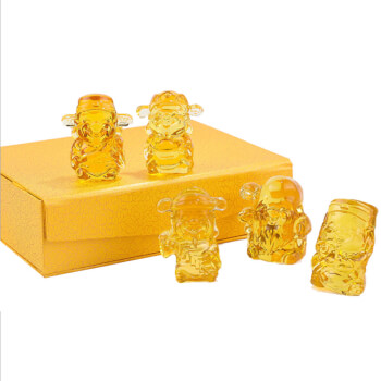 Set statuete Buddha FuLuShouXiCai cele 5 binecuvantari ale familiei, set amulete pentru noroc si prosperitate in casa din cristal citrin galben, cutie cadou cu satin