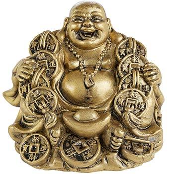 Buddha vesel al fericirii, pentru dragoste si noroc de prosperitate, auriu