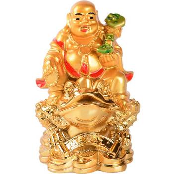 Buddha vesel cu Ru Yi si broasca banilor, armonie in locuinta, remediu Feng Shui pentru cariera si bani, auriu