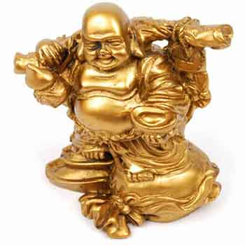 Buddha vesel auriu cu desaga banilor Wu Lou si pepita, obiect feng shui pentru abundenta, statueta aurie, 9 cm