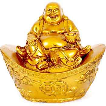 Buddha vesel auriu pe pepita, pentru a spori energia prosperitatii Feng Shui