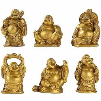 Set 6 Buddha veseli in cutie rosie, pentru dragoste si castiguri multiple, simbol al bucuriei prin intermediul iluminarii divine
