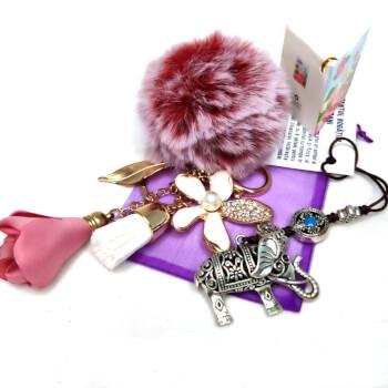 Amuleta Elefant cu trompa in sus si Breloc pompom puf, set accesorii pentru geanta si chei, minifelicitare, ambalate cadou