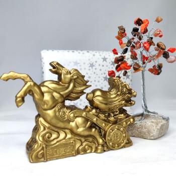 Cadou Cal auriu cu trasura si varza si Copacel decorativ cu cristale coral carneol si jasp, simbol de iubire si succes, minifelicitare