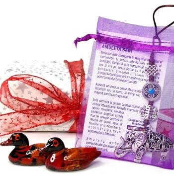 Set cadou 2 Rate mandarine si 1 amuleta cu elefantul bogatiei trompa in sus liliac si nod mistic, simbol de dragoste, noroc si protectie, cadouri impachetate cu minifelicitare