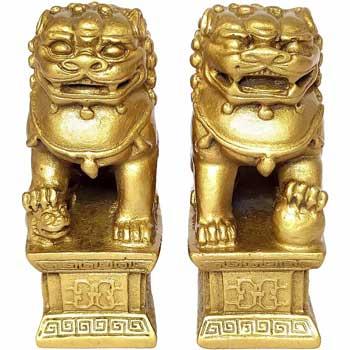 2 Caini Fu set amulete feng shui cu simboluri protectoare la intrare in casa, impotriva hotilor, tradarilor si dezastrelor