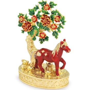 Cal de Floare de Piersic cu pepite, obiect feng shui pentru noroc in dragoste, metal, multicolor