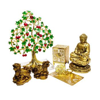 Zodia Cal 7 amulete feng shui 2021, statuete Buddha medicinei cu zeita Lakshmi si testoasa dragon, decoratiuni pomul abundentei si cufarul alb al bogatiei, amuleta 8 simboluri si card sanatate, pentru victoriei, bunastarea familiei si sanatate