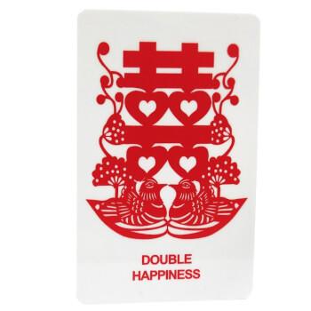 Card amuleta dragoste, cu simbolul dublei fericiri, rate mandarine si flori de piersic, alb, pvc