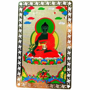 Card Buddha medicinei, amuleta feng shui, auriu, pvc