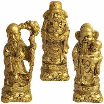 Cei trei intelepti Fuk Luk Sau, set figurine Feng Shui pentru canalizarea dorintelor, auriu