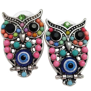 Cercei cu bufnita, amuleta pentru intelepciune si invatare cu ochiul lui horus, roz