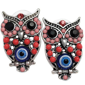 Cercei cu bufnita, amuleta pentru intelepciune si invatare cu ochiul lui horus, roșii