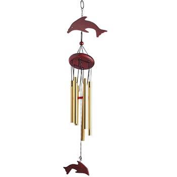 Clopotei metalici de vant, 6 tuburi aurii si delfini, decoratiune casa si gradina cu simboluri pentru dragoste si relatie armonioasa, metalici, 68 cm
