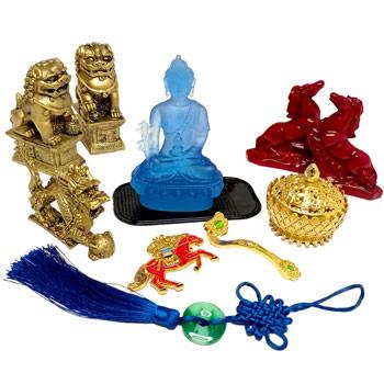 Zodia Cocos 9 amulete feng shui 2021, Buddha medicinei albastru si caini fu, 2 cal rosu cu dragon perla nemuririi si vasul prosperitatii, sceptru ru yi si breloc cal de vant rosu, pentru castiguri financiare si influenta