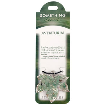 Set Pandantiv cristal aventurin frunza, talisman pentru atragerea bunastarii, carton personalizat