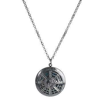 Simboluri magice de armonie Yin-Yang cu 8 diagrame, colier argintiu cu difuzor aromaterapie, talisman pentru incredere in forta proprie si echilibru