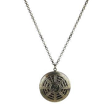 Yin-Yang cu 8 diagrame, colier vintage cu difuzor aromaterapie, talisman pentru armonie si echilibru