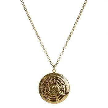 Yin-Yang cu 8 diagrame, colier cu difuzor aromaterapie, talisman pentru armonie si echilibru, auriu