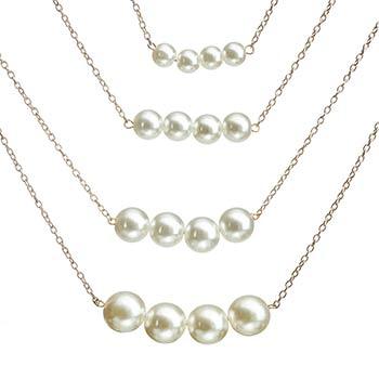 Colier perle, multilayer cu patru randuri de lantisoare cu perle albe