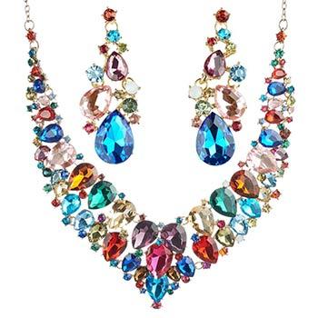 Set colier si cercei, cristale mari sticla multicolor, auriu