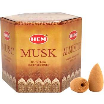 Conuri backflow parfumate Musk, HEM profesional aromaterapie, musk, 40 buc.