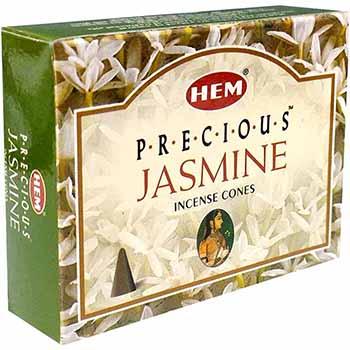 Conuri parfumate Iasomie, HEM profesional Jasmine, suport metalic inclus, calmeaza stresul si scapa de apatie, 10 conuri (25g) aromaterapie