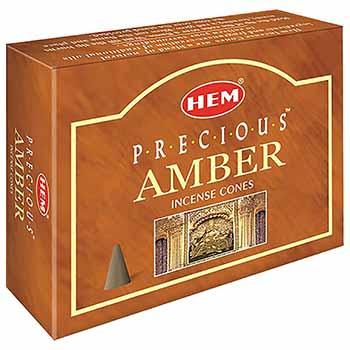 Conuri parfumate Ambra, HEM profesional, relaxeaza si creeaza un mediu placut si armonios, set 10 conuri (25g) cu suport metalic inclus, aromaterapie