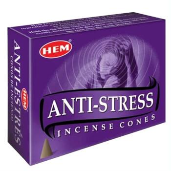 Conuri parfumate Antistres, HEM profesional, 10 conuri (25g) aromaterapie, suport metalic inclus